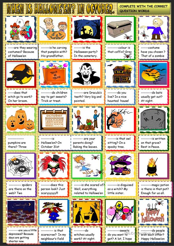 Halloween: question words