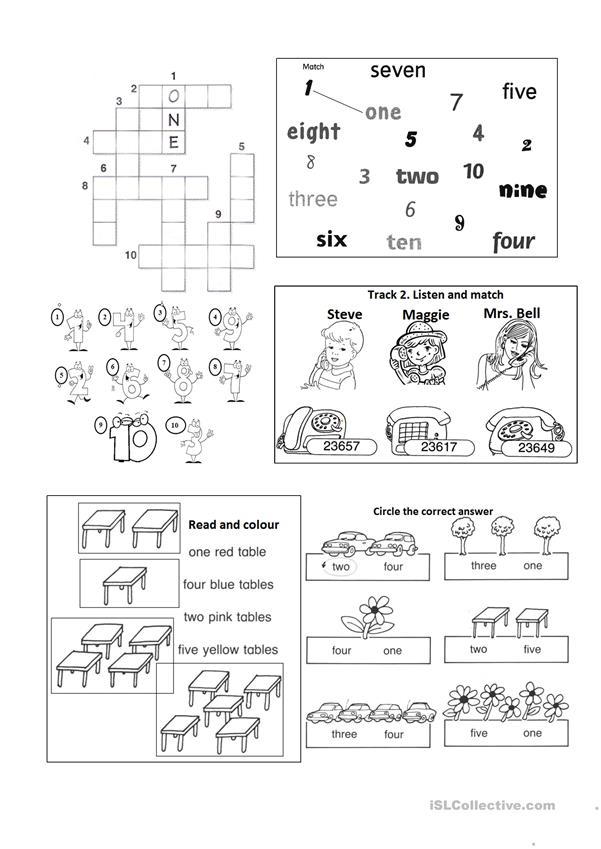 numbers and colours worksheet with listening tasks