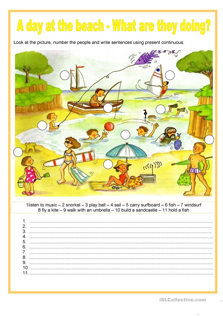 A day at the beach - What are they doing? - English ESL Worksheets ...