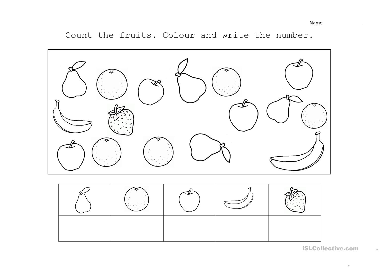 - Counting And Fruits Worksheet - English ESL Worksheets For