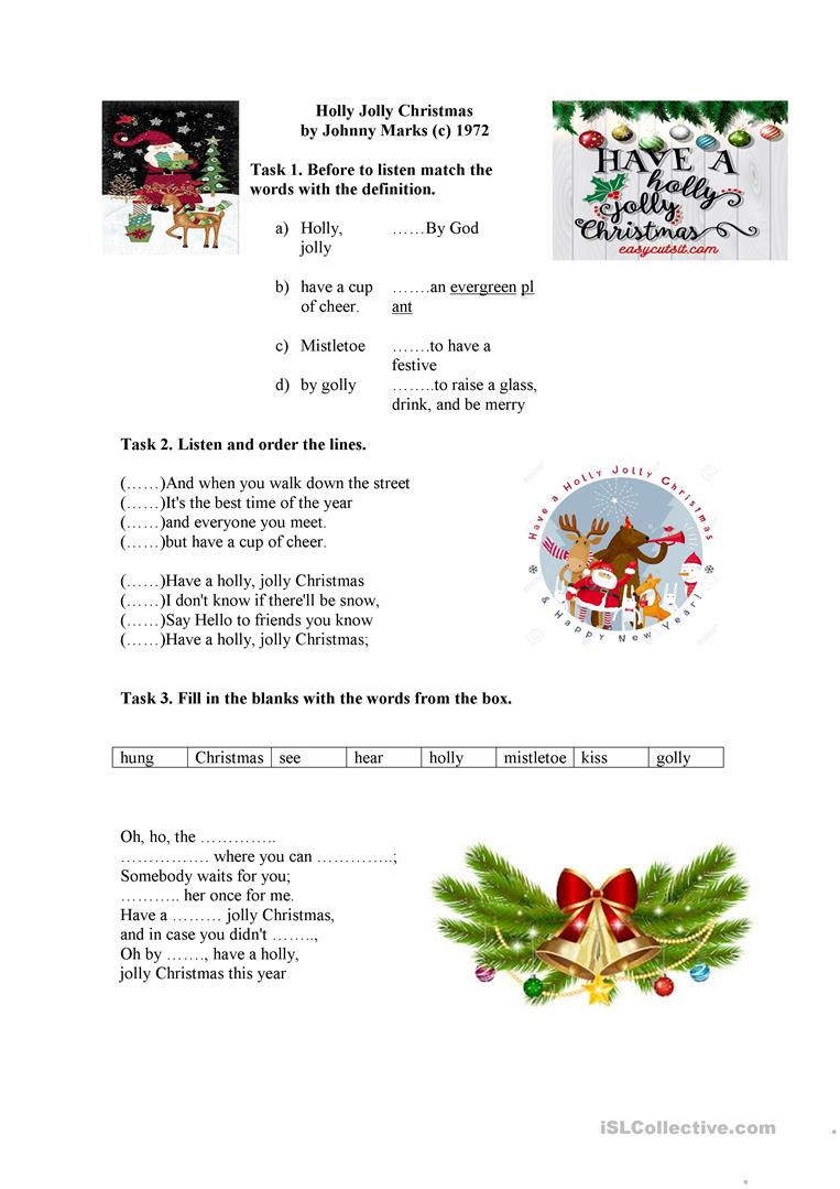 Michael Buble Holly Jolly Christmas.Holly Jolly Christmas By Michael Buble English Esl Worksheets