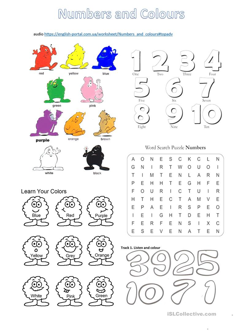 numbers and colours worksheet with listening tasks - English ...