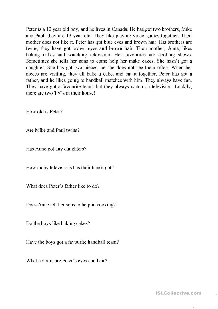- Reading Comprehension (have Got, Has Got) Text And Questions