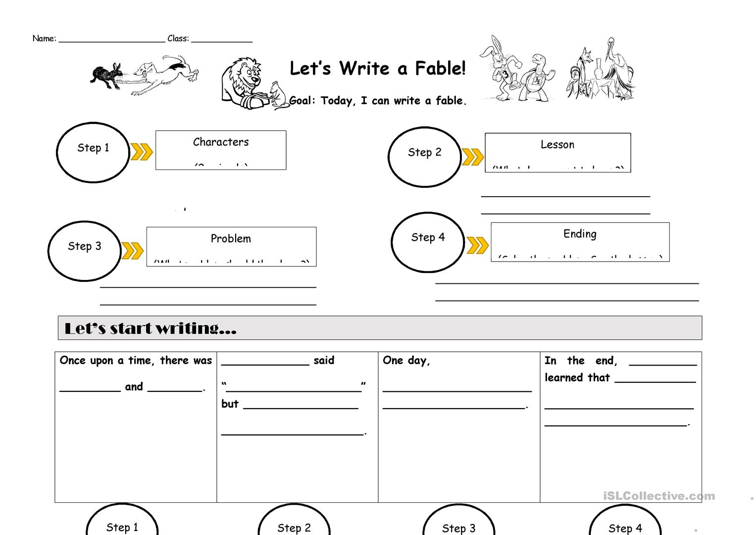 Writing a Fable - English ESL Worksheets for distance learning and