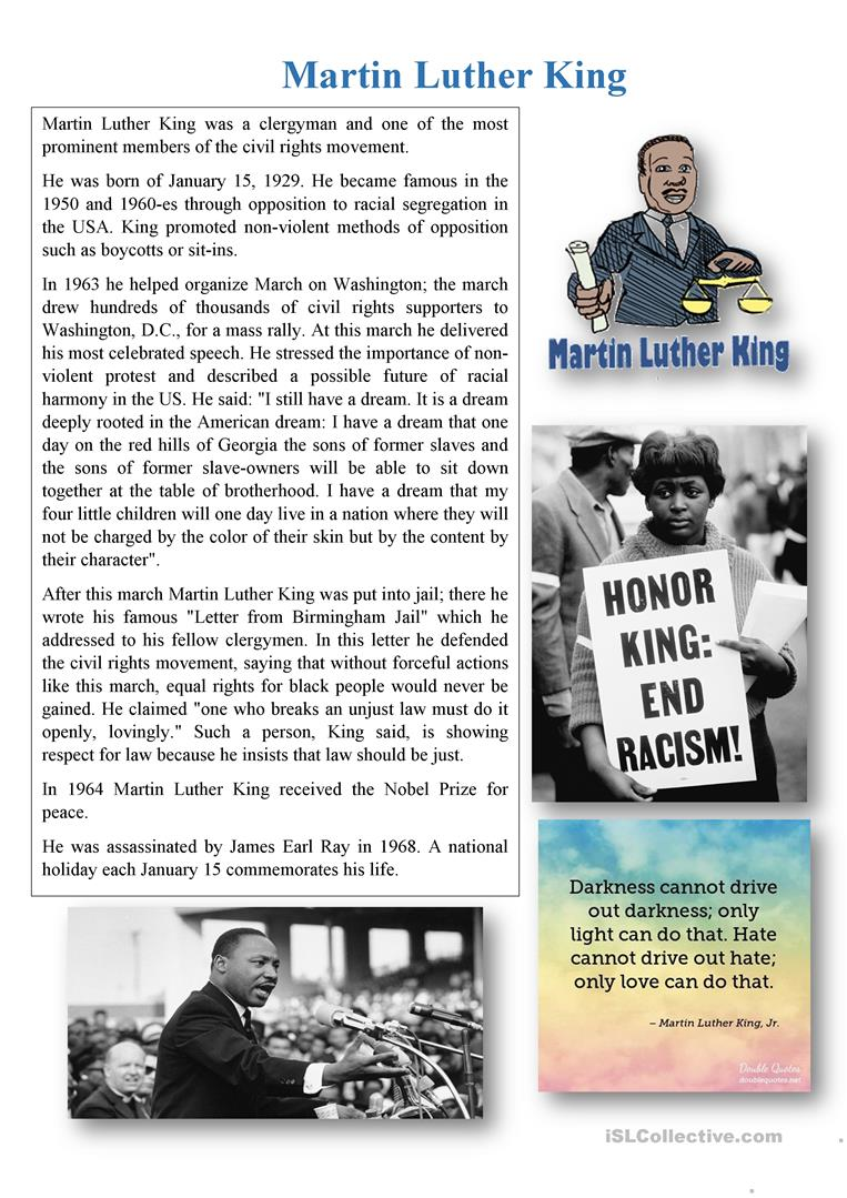 - Martin Luther King - English ESL Worksheets For Distance Learning