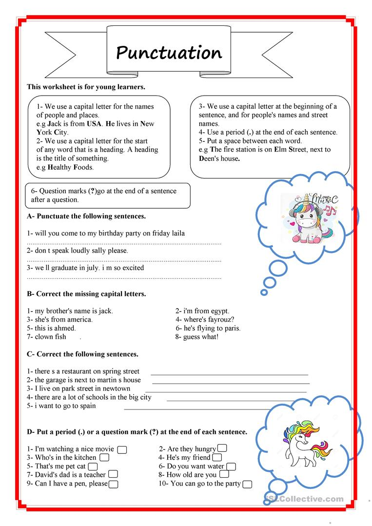punctuation for beginners english esl worksheets for