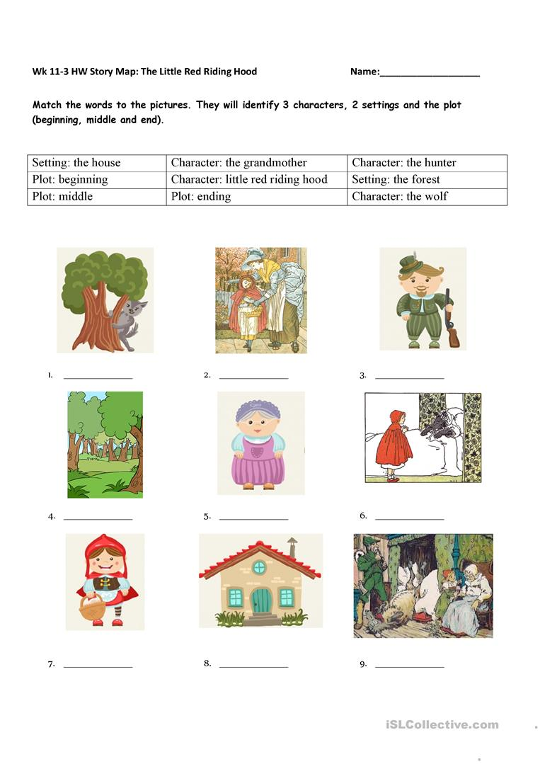 Story Element Matching The Little Red Riding Hood English Esl
