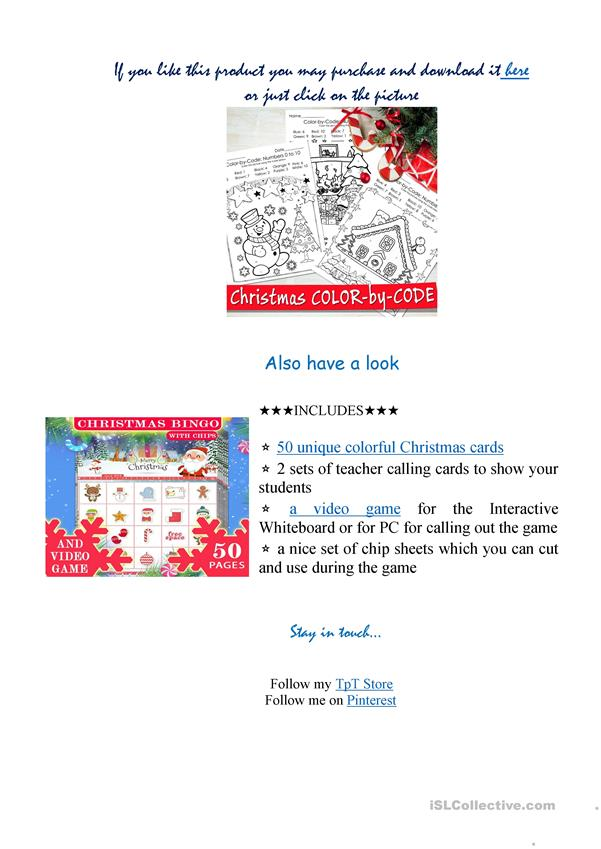 Christmas Color by Code - Christmas Coloring Pages - Numbers ...