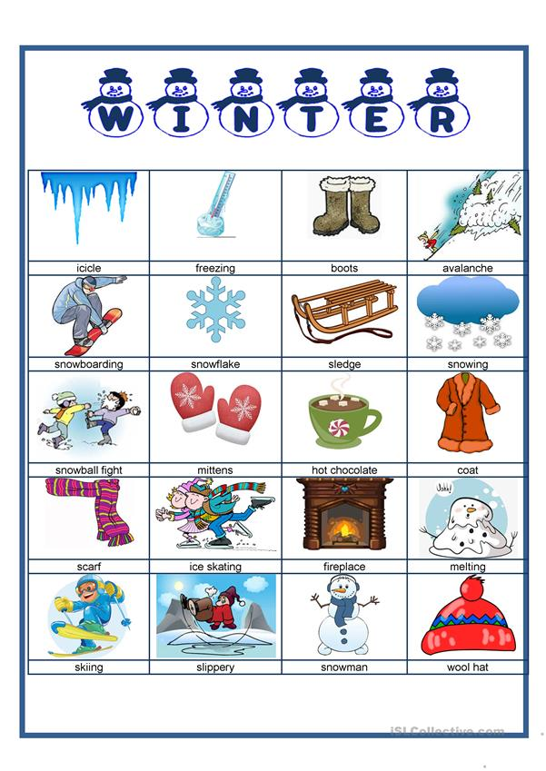Picture dictionary - Winter