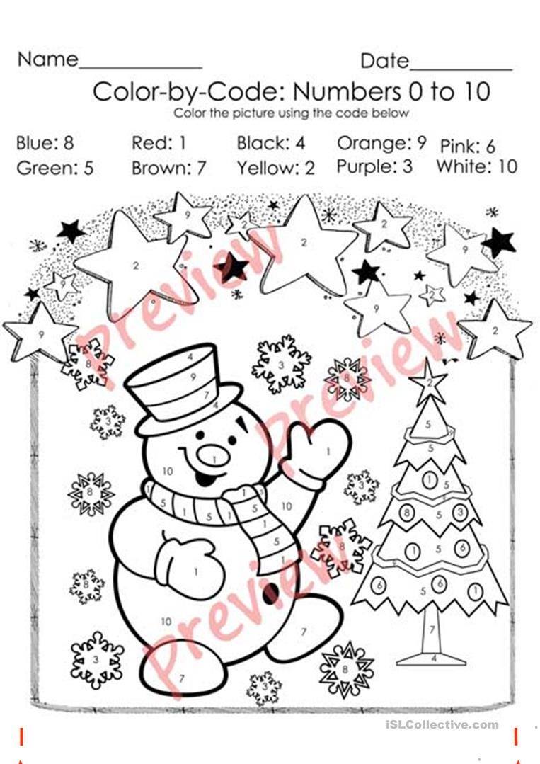 - Christmas Color By Code - Christmas Coloring Pages - Numbers 1-10