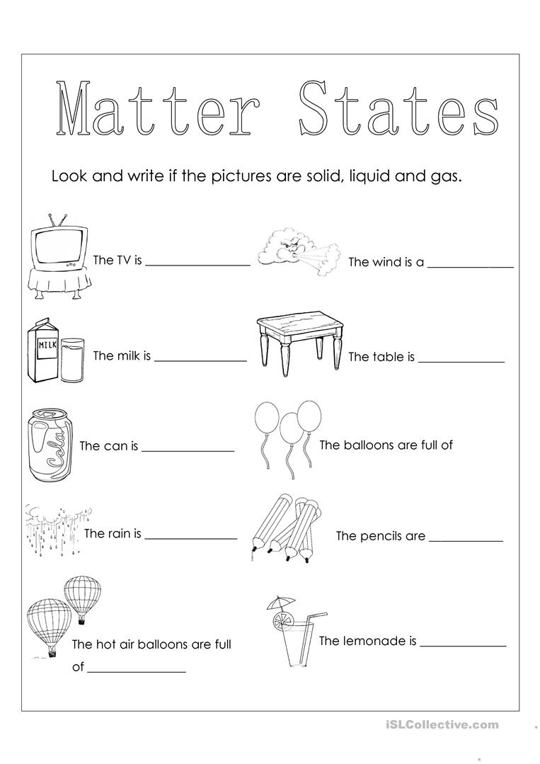 Matter states - English ESL Worksheets for distance learning and Within States Of Matter Worksheet Answers