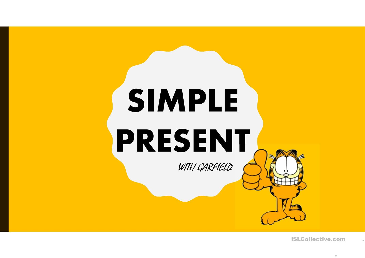 Simple Present With Garfield English Esl Powerpoints For Distance Learning And Physical Classrooms