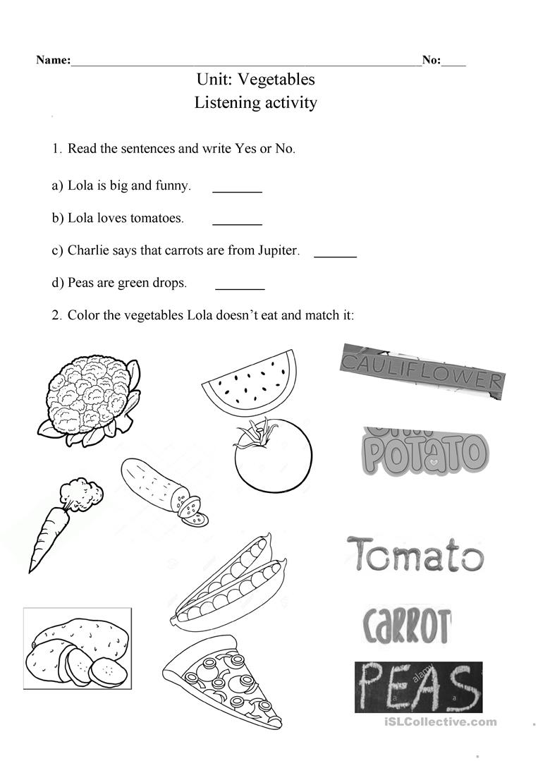 Vegetables worksheet - I will not ever never eat a tomato ...