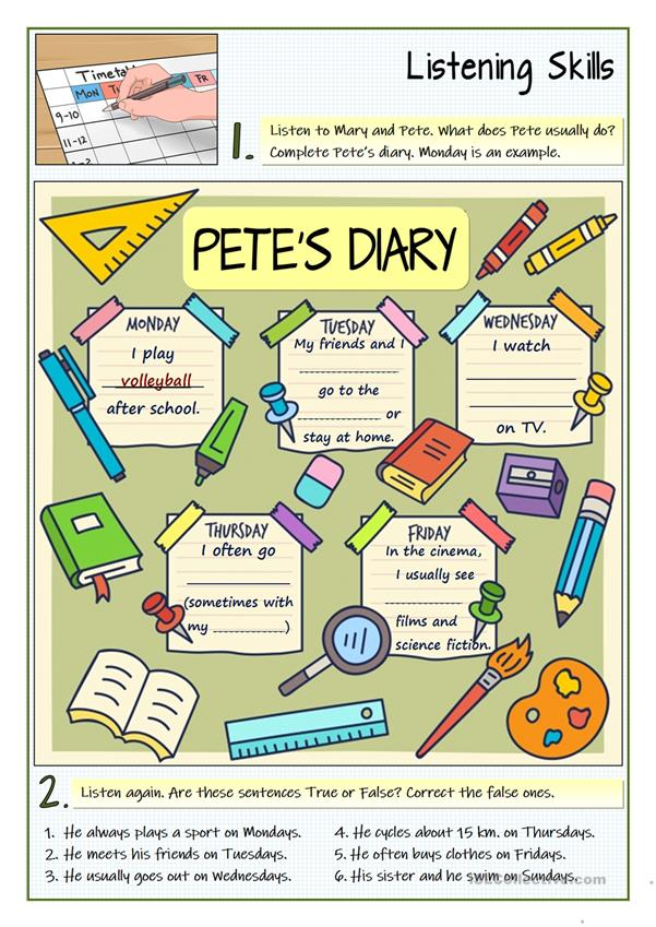 PETE'S DIARY - LISTENING ABOUT ROUTINES AND HABITS