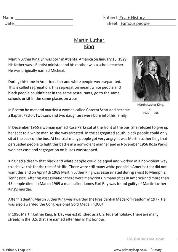 Reading Comprehension - Martin Luther King - English ESL Worksheets For  Distance Learning And Physical Classrooms