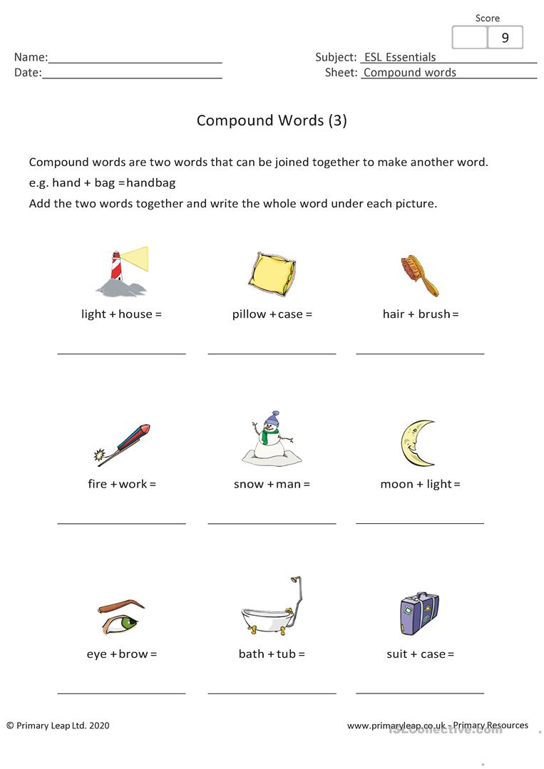 - Compound Words (3) - English ESL Worksheets For Distance Learning