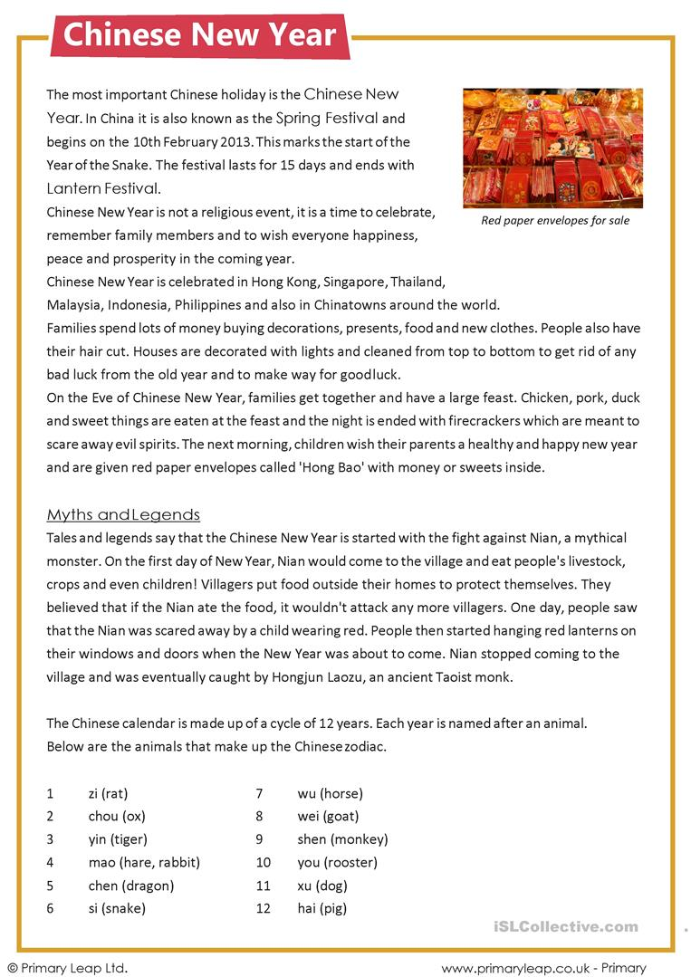- Reading Comprehension - Chinese New Year - English ESL Worksheets