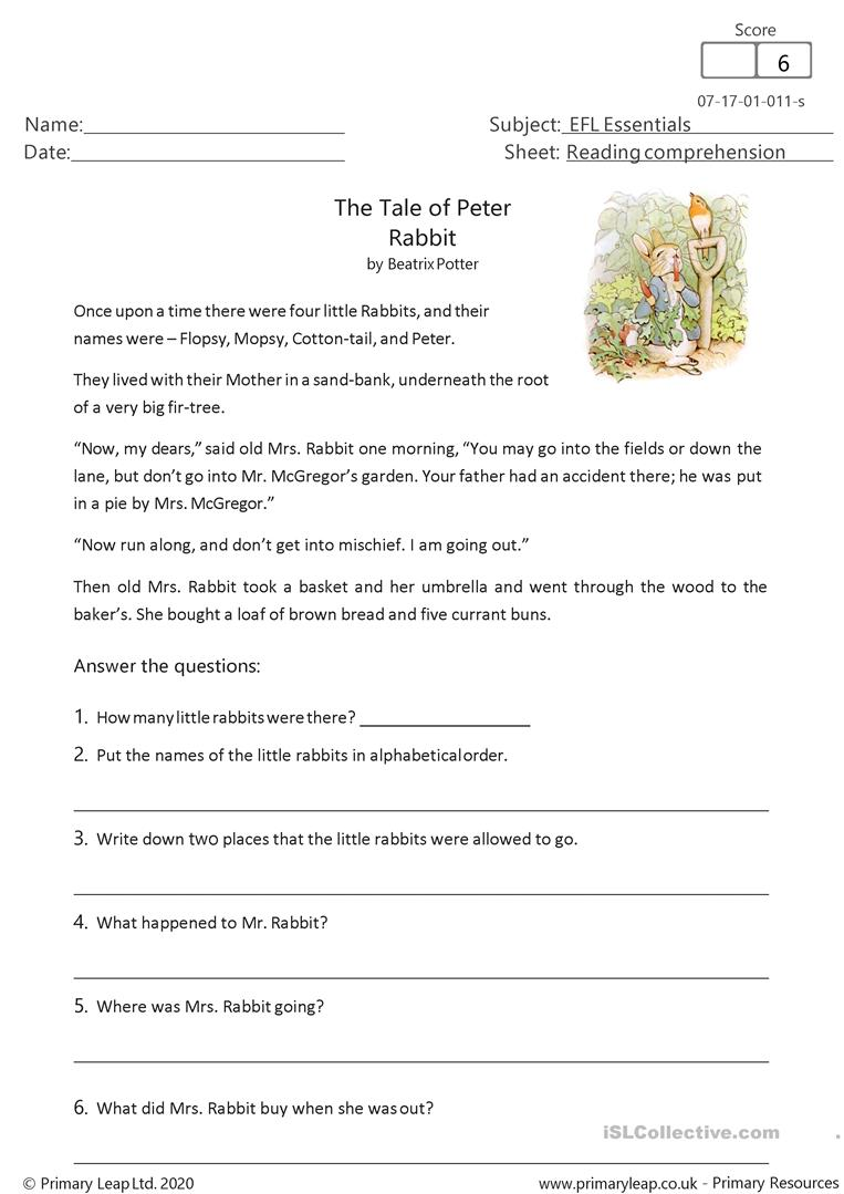 - Reading Comprehension - The Tale Of Peter Rabbit - English ESL