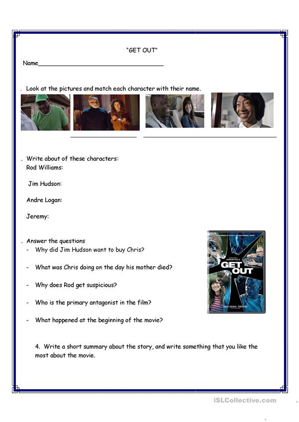 Get out movie- worksheet