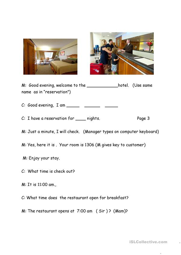 Hotel Procedures Check In Check Out Role Play English Esl Worksheets For Distance Learning And Physical Classrooms