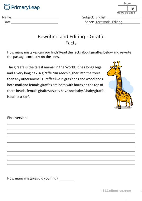 Rewriting and Editing - Giraffe Facts
