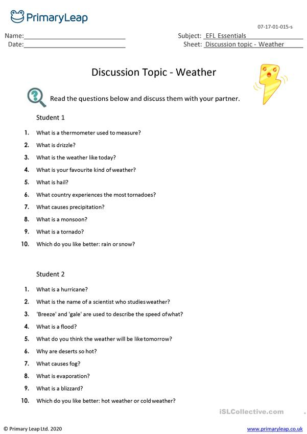 discussion topic the weather english esl worksheets. Black Bedroom Furniture Sets. Home Design Ideas