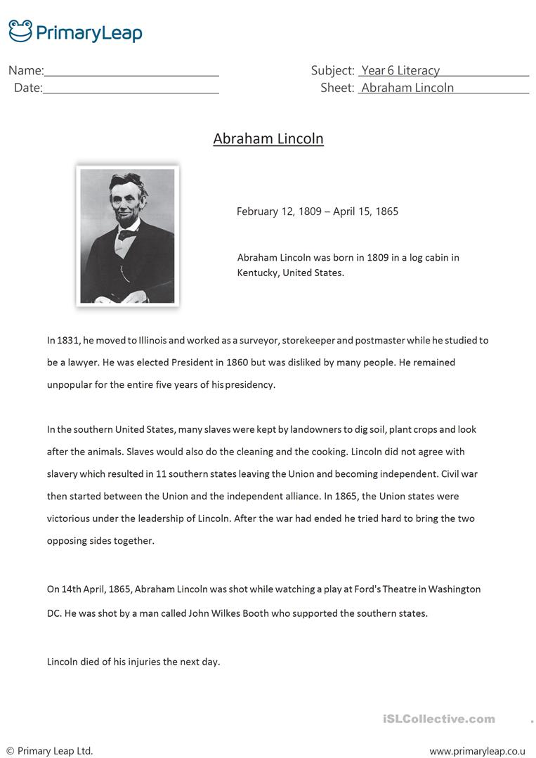 Reading Comprehension Abraham Lincoln English Esl Worksheets For Distance Learning And Physical Classrooms