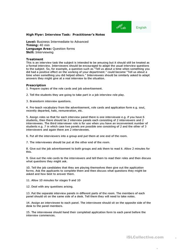 Business English Interview Roleplay English Esl Worksheets For Distance Learning And Physical Classrooms