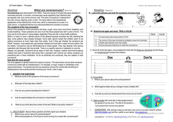 CORONA VIRUS - WORKSHEET- SECONDARY SCHOOL - English ESL Worksheets For  Distance Learning And Physical Classrooms