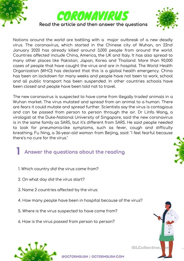 Reading Comprehension: Coronavirus - English ESL Worksheets For Distance  Learning And Physical Classrooms