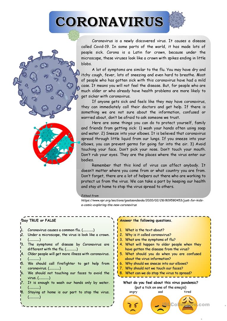 - Let's Talk About Coronavirus. - English ESL Worksheets For