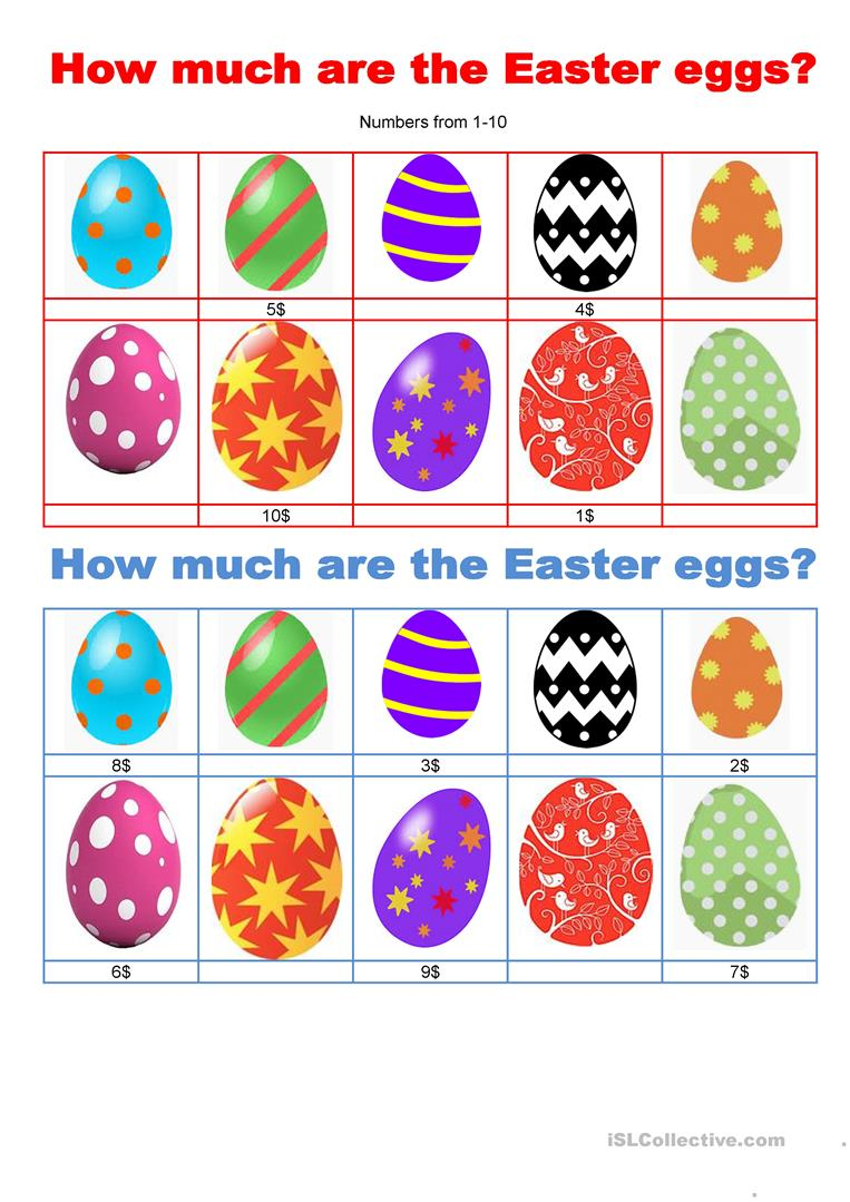 Pairwork - How much are the Easter eggs? - English ESL ...