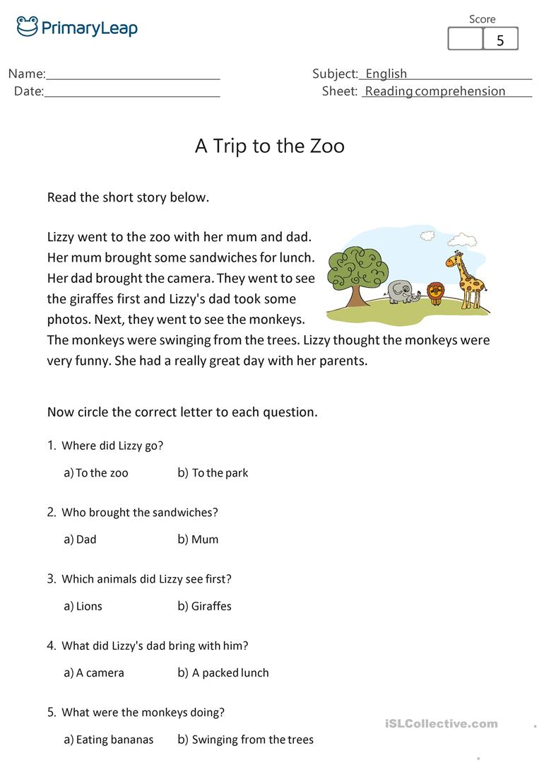 - Reading Comprehension - A Trip To The Zoo - English ESL Worksheets
