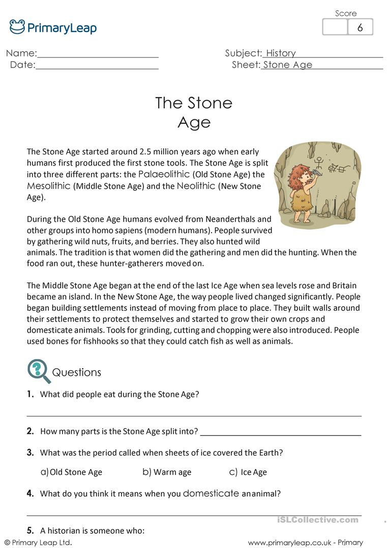 - Reading Comprehension - The Stone Age - English ESL Worksheets For