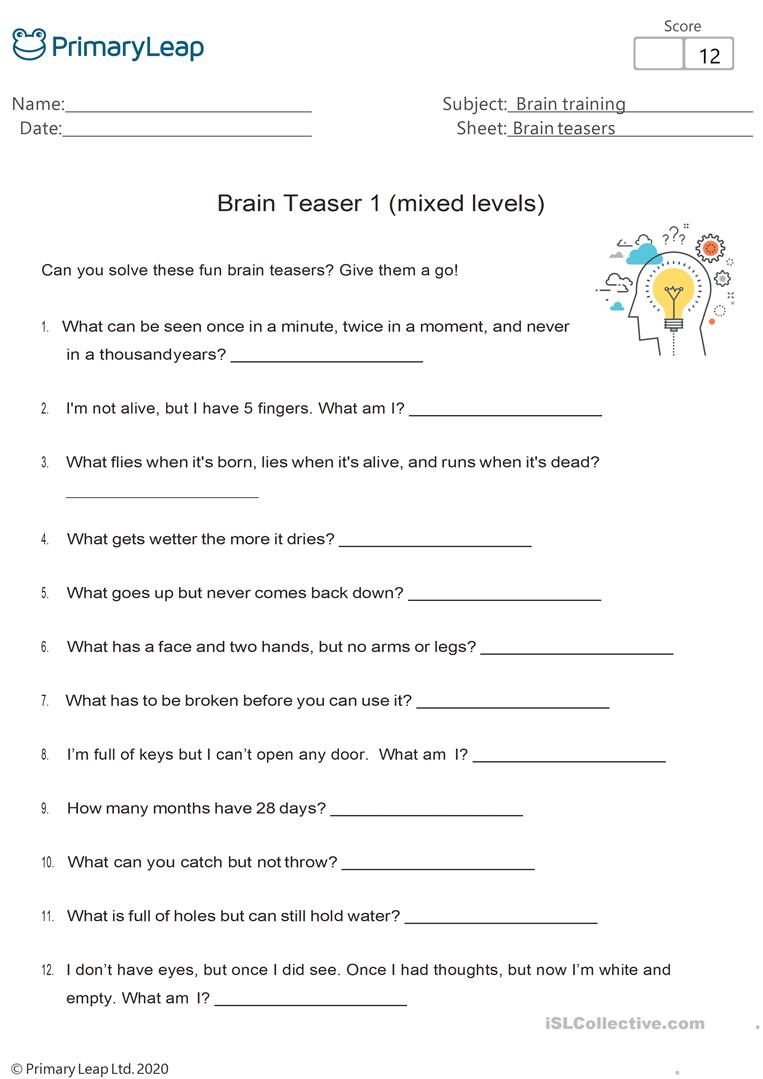 - Fun Brain Teasers 1 - English ESL Worksheets For Distance Learning