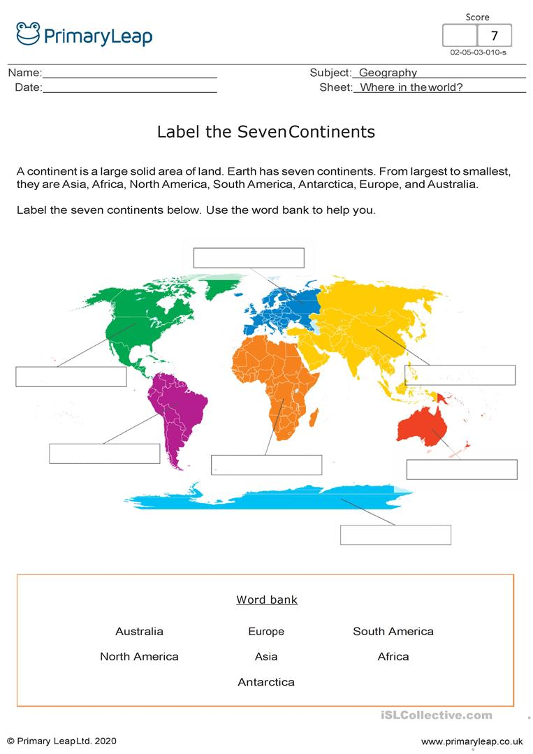 Label The Seven Continents English Esl Worksheets For Distance Learning And Physical Classrooms
