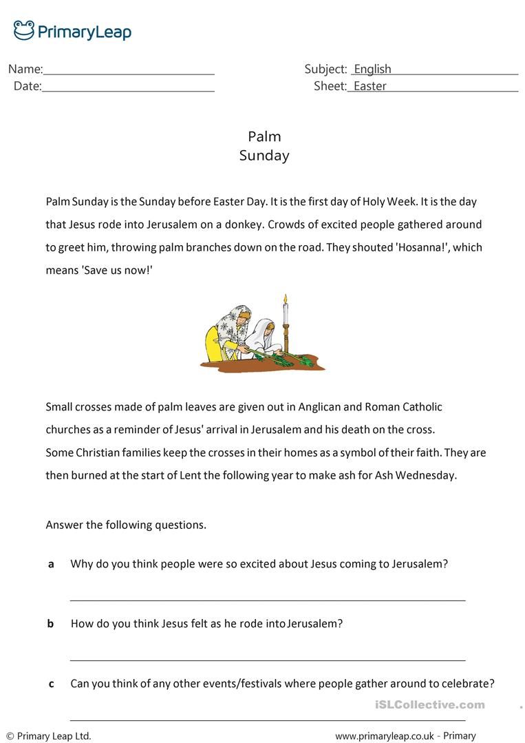 - Reading Comprehension - Palm Sunday - English ESL Worksheets For