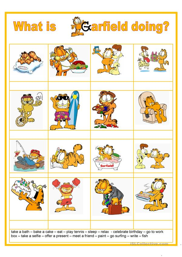 What Is Garfield Doing Present Continuous English Esl Worksheets For Distance Learning And Physical Classrooms