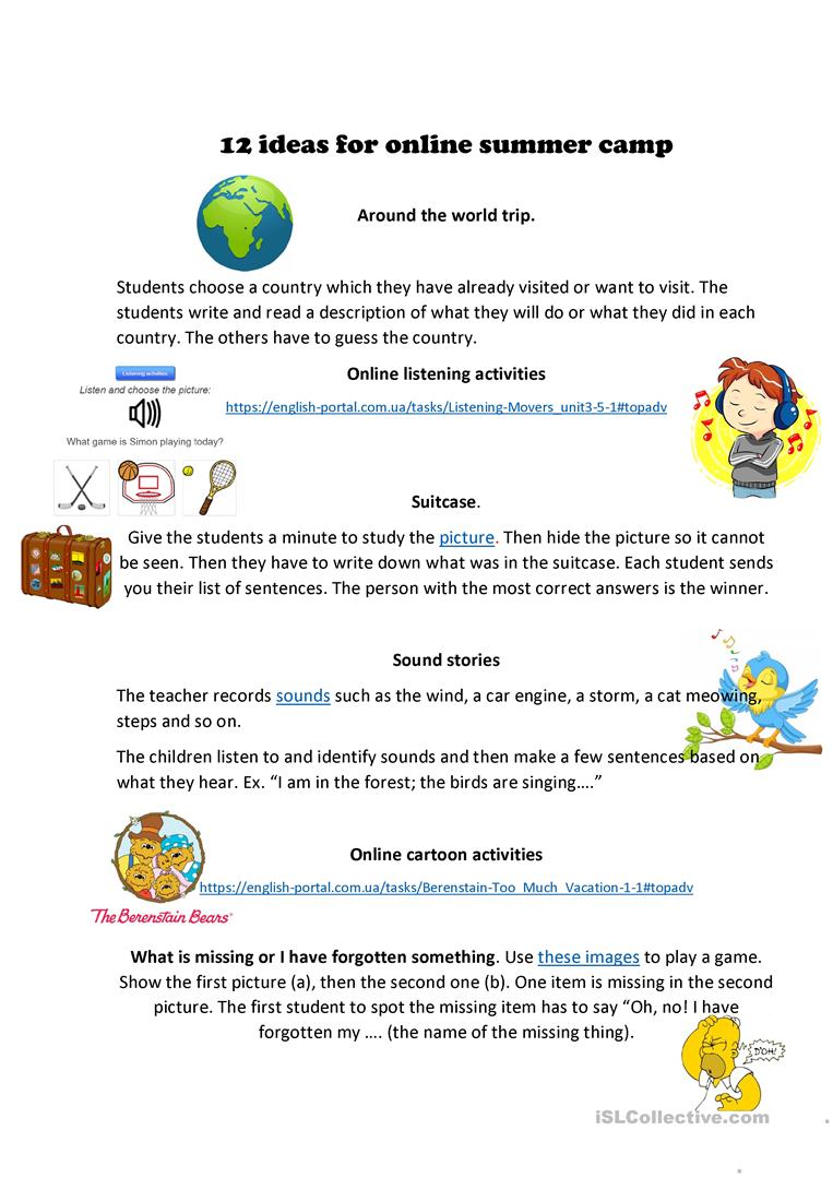12 Ideas For Online Summer Camp English Esl Worksheets For Distance Learning And Physical Classrooms