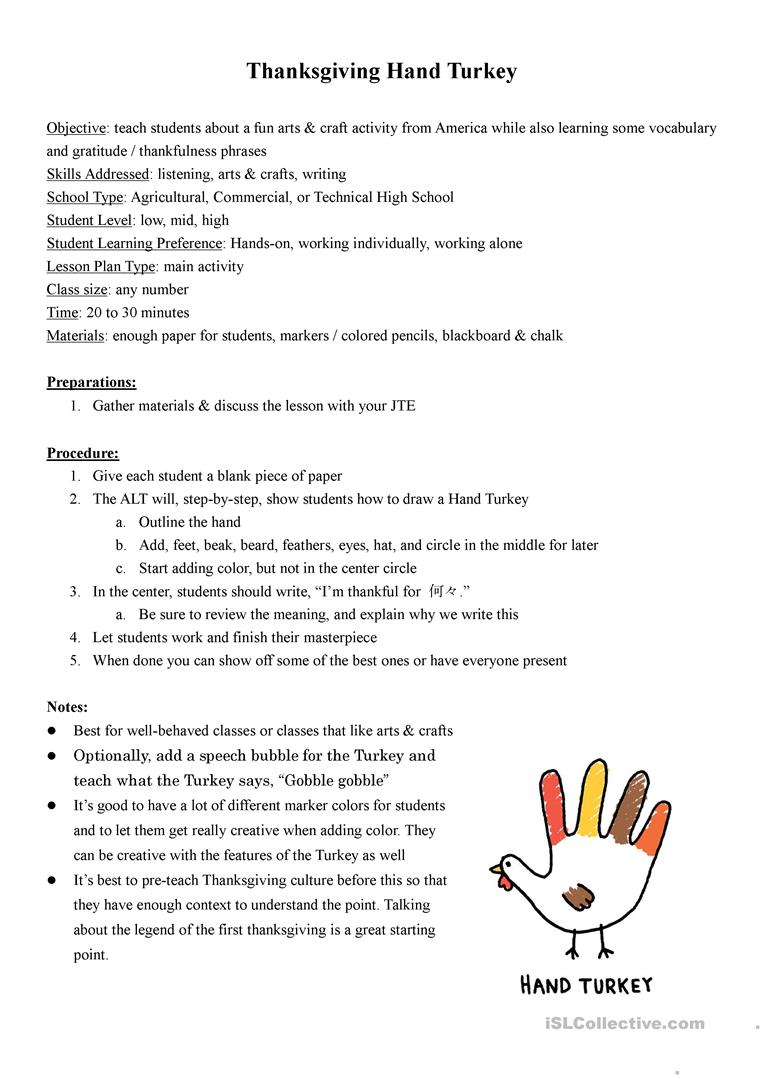 Thanksgiving Hand Turkey Lesson Plan English Esl Worksheets For Distance Learning And Physical Classrooms