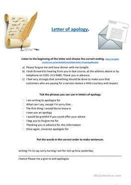 Apology an things to say letter in 40 Ways