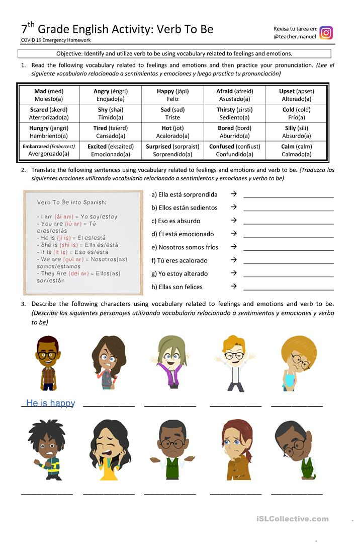 Verb To Be & Feelings - English ESL Worksheets For Distance Learning And  Physical Classrooms