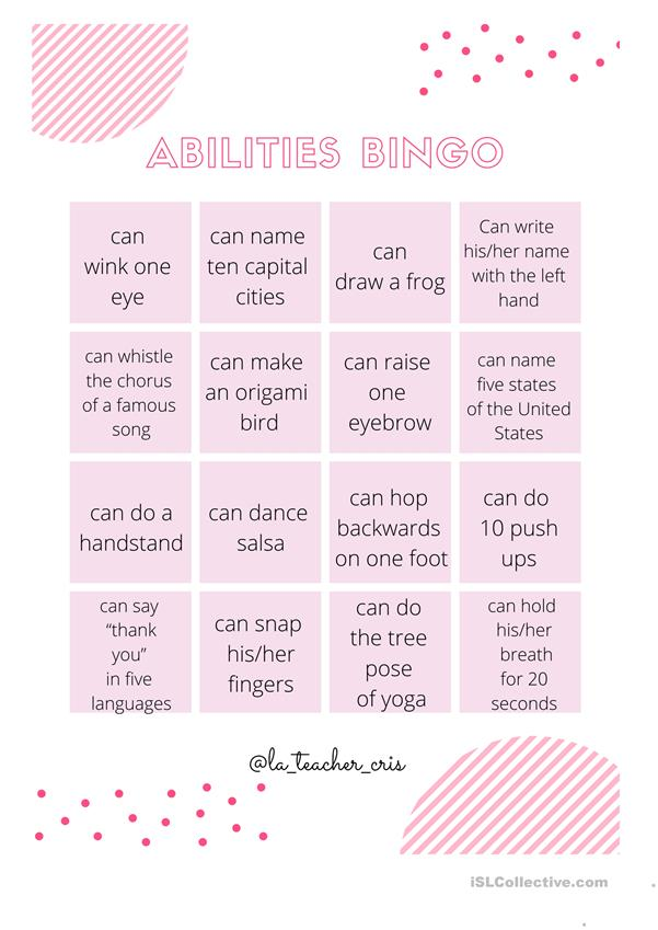 abilities bingo can/can't activity