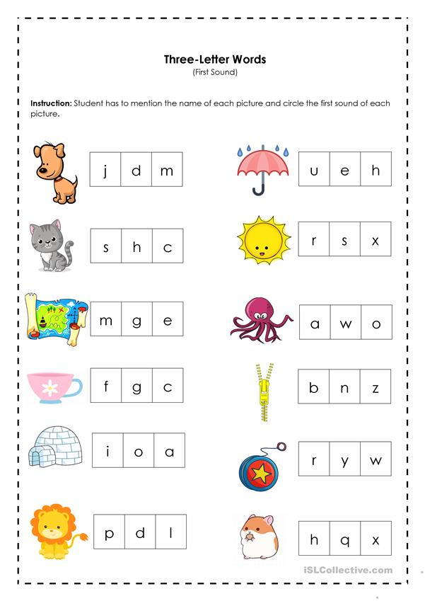 Three-Letter Words (First Sound) - English ESL Worksheets ...