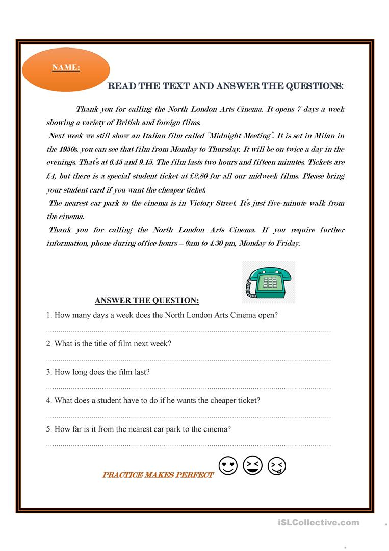 READING AND ANSWER THE QUESTIONS   English ESL Worksheets for ...