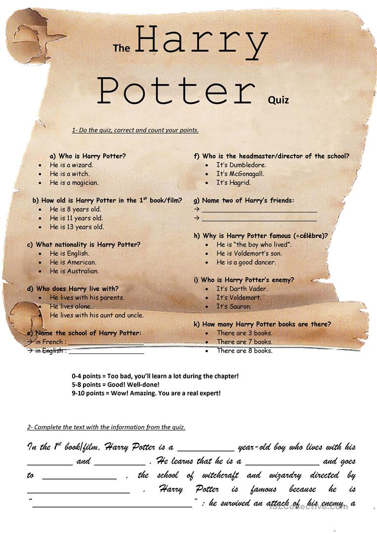 The Harry Potter Quiz English Esl Worksheets For Distance Learning And Physical Classrooms