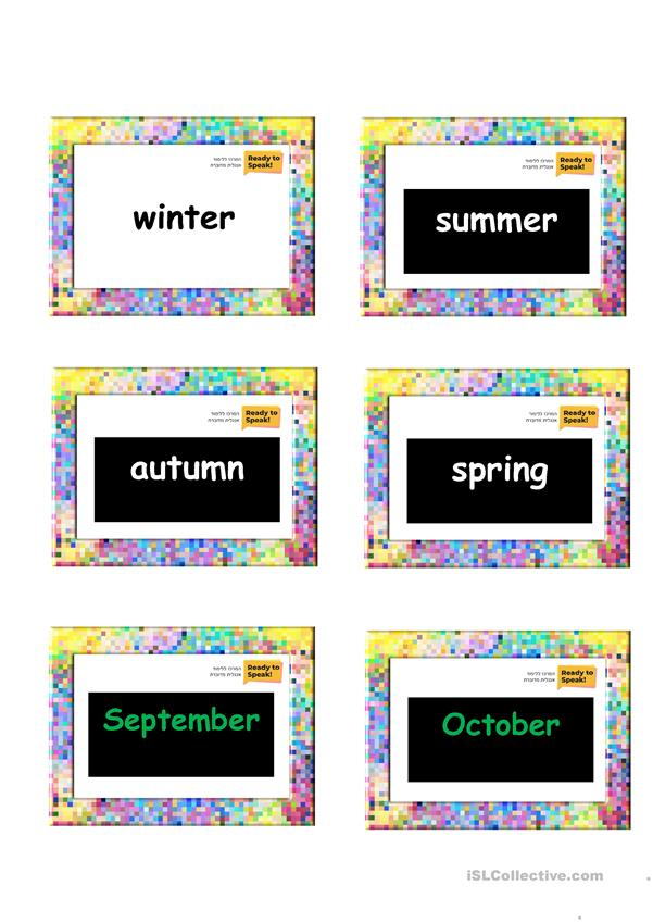 flashcards- teaching seasons, months, parts of the day