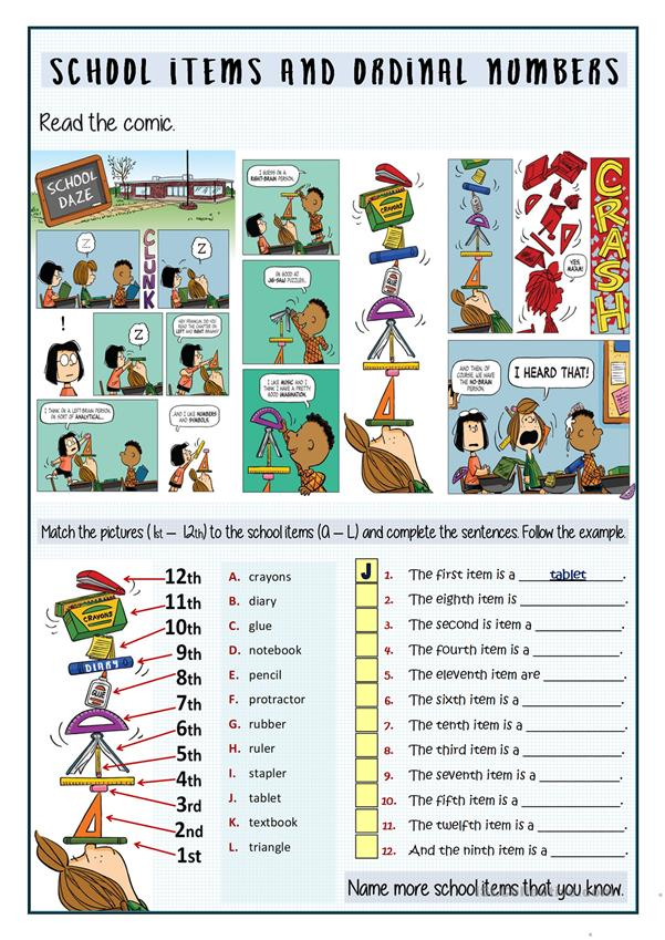 SCHOOL ITEMS AND ORDINAL NUMBERS