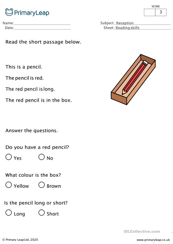 Reading Comprehension - Red pencil