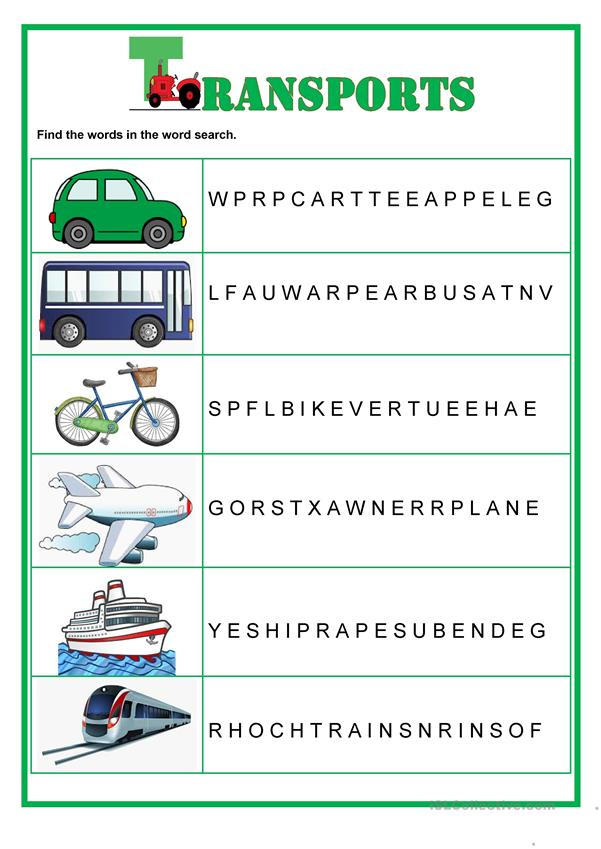 Wordsearch -  Transports